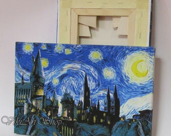 Harry Potter Canvas Print, Hogwarts Starry Night Print Reproduction of Van Gogh Starry Night, Hogwarts Art Print Mounted stretched Canvas