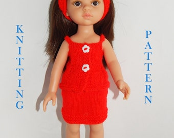 PDF knitting pattern to knit Dolls clothes to fit 12,13 inch (32-33cm) doll and comprises of  skirt ,top and headband