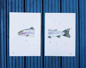 Rainbow Trout split over 2 sheets of A4 watercolour paper. This is an original piece of artwork. With iridescent paint.