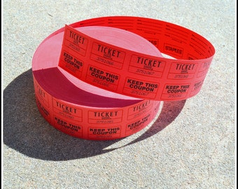 Red Double Raffle Ticket Roll - Staples - Carnival - Raffle - Auction - Tickets