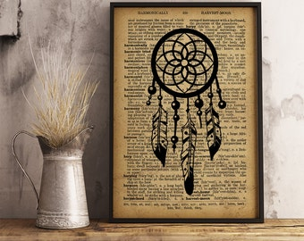 Dreamcatcher Poster, Vintage Dreamcatcher Print, , Magical print, Boho Decor, Hippie wall art, Bohemian Art, Cotton Canvas Print (D03)