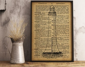 lighthouse art poster, Nautical Decor, lighthouse Dictionary Art Print, Nautical print, Gift for sailor, lighthouse print, beach decor (K10)