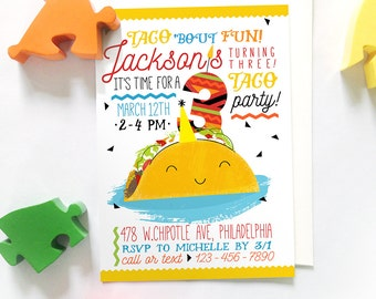 Taco Party Invitations, Printable Taco Invitations, Kids Taco Party Invites