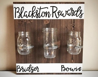 Custom Wood Chore Chart Sign - Children's / Kid's / Family Mason Jar Reward / To Do Chart - Handlettered Personalized Family Reward System