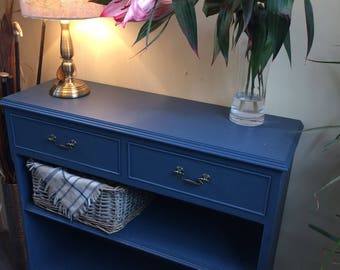 Midnight blue hand painted book shelf with two top draws and antique brass effect handles