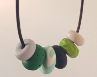 Beaded necklace // polymer clay necklace // funky // handmade // jewellery