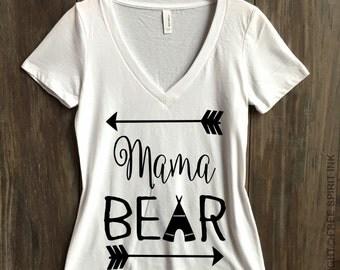 Mama Bear V-Neck Shirt. Mothers Day Gift. Mama Bear Shirt. Gift For Mom. Mama Bear Tee. Gift For Wife. Baby Shower Gift