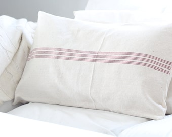 Lumbar Grain Sack Pillow Cover, Available in Blue and Red Stripes