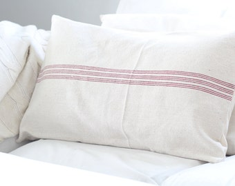 Lumbar Grain Sack Pillow Cover, Red Stripes