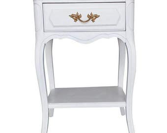 Henry Link French provincial nightstand end table serpentine shabby chic