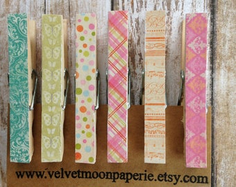 Retro Inspired Patterned Decorative Clothespins/Retro Style Clothespin Clips/Decorative Memo Clips/Patterned Clips/Set of 6