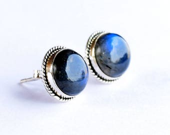 Labradorite studs - Sterling silver labradorite stud earrings - Labradorite and Silver Stud Earrings
