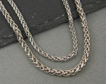 Men's Necklace Chain Stainless Steel Chain Spiga Wheat Link Chain Steel Basket Chain Jewelry for Him 18 20 22 24 Inch