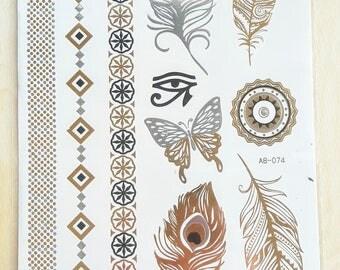 Body Tattoo Doré et argenté, Noir | Plumes | Mandala | Papillon | Oeil  Ra| Arabesque Encre imprimée