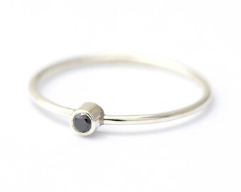 Silver Diamond Ring, Thin Black Diamond Ring, Promise Ring for Her
