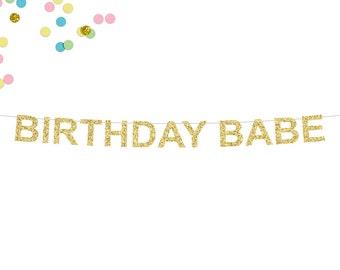 Birthday Babe Glitter Banner   Birthday Banner   Girl Birthday Party Decor   Birthday Girl   Birthday Babe   Happy Birthday Glitter Banner
