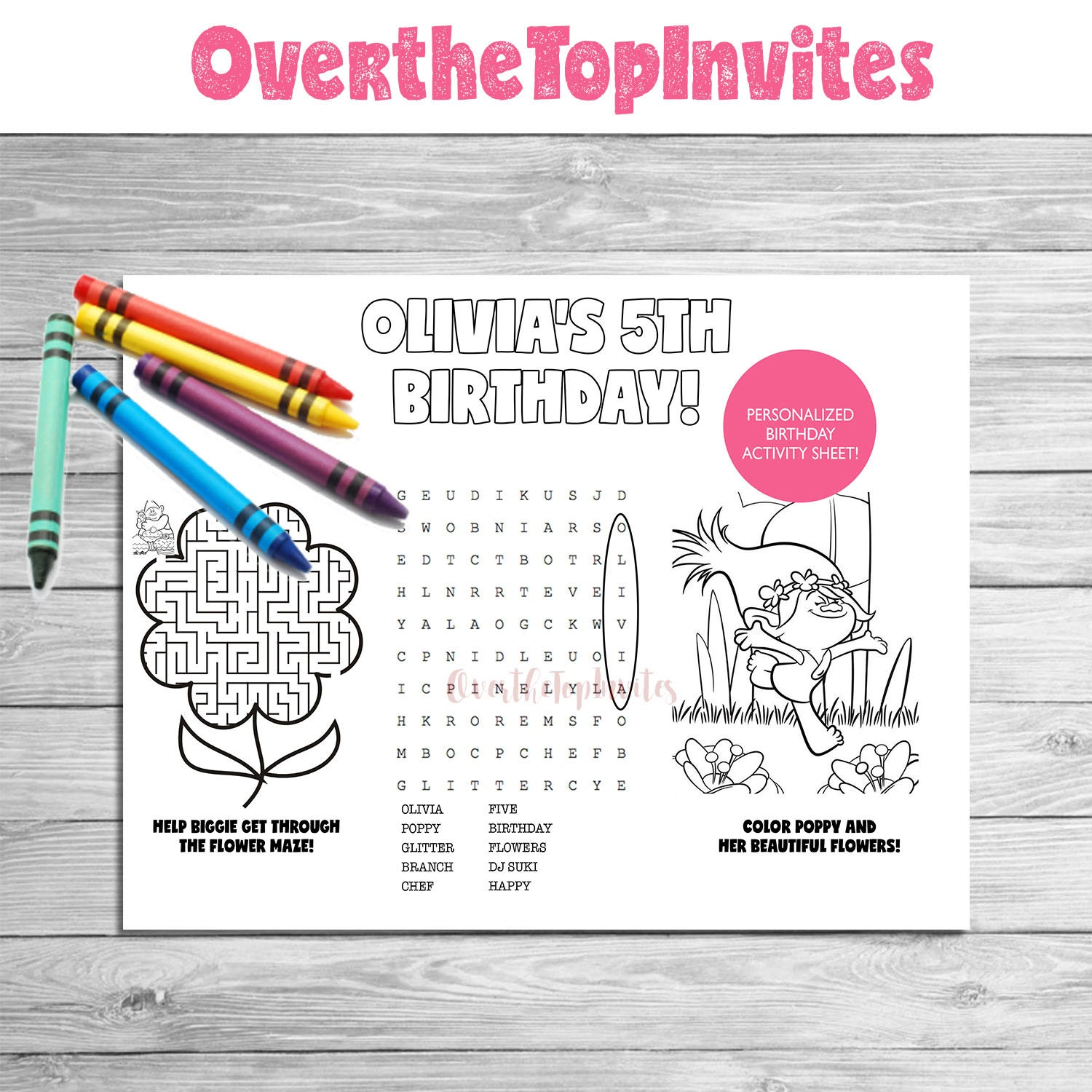 trolls movie personalized coloring activity page with custom word search