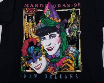 Vtg 1992 New Orleans Mardi Gras T Shirt | Men's Women's Large | Vintage Party Confetti Colorful | Made in U.S.A