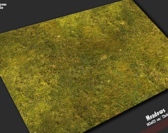Battle mat: Meadows - grass scenery for 28mm scale miniature wargames - Warhammer, Hordes, Warmachine, Infinity, Malifaux, Bolt Action