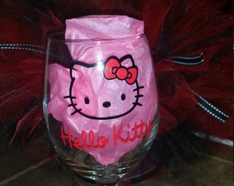 Hello Kitty wine glass