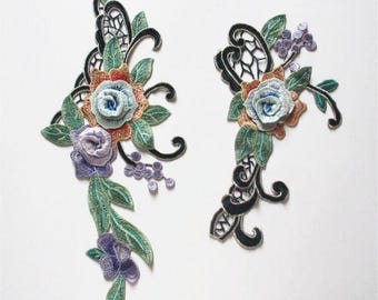 Beautiful Spring/Summer Color High Fashion 3-D Embroidered  Appliques.