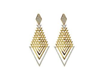 Roma Drops - Gold Earrings - 18K Gold Plated Statement Earrings - Edgy Earrings - Exquisite Earrings - Modern Earrings - Prom Earrings