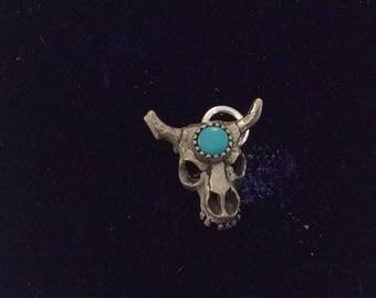 Sterling silver bulls skull charm vintage # 1114