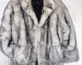 SALE 40% OFF Faux Fur Jacket/Faux Fox Fur Jacket/Size XL Faux Fur Jacket/Silver Faux Fur Jacket/Grey Faux Fur Coat/Womens Winter Jacket/#240