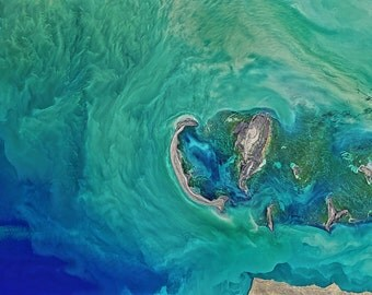 Caspian Sea Aerial Photograph Print, Tyuleniy Archipelago ,NASA photograph , Aerial Photography