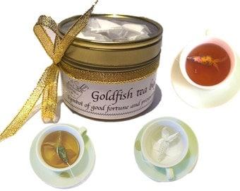 Goldfish tea bags, Novelty gift, Unusual Gift, Tea Gift Small Gift, Birthday gift for her gift for him, Creative gift, Best friend gift idea
