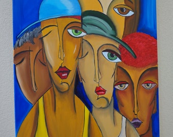 "Table ""Friends"" paintings oil on canvas"