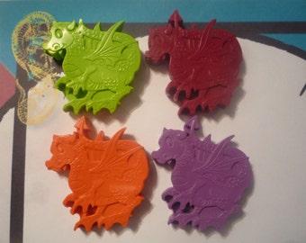 6 dragon handmade novelty wax crayons
