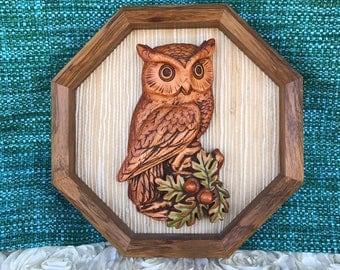 Vintage owl wall hanging art