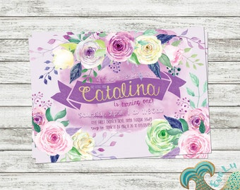 Floral Birthday Invitation | Baby Shower | Birthday | Custom Invitation | Party Decor | Thank You Card | Pink Purple Flowers | Floral | Rose