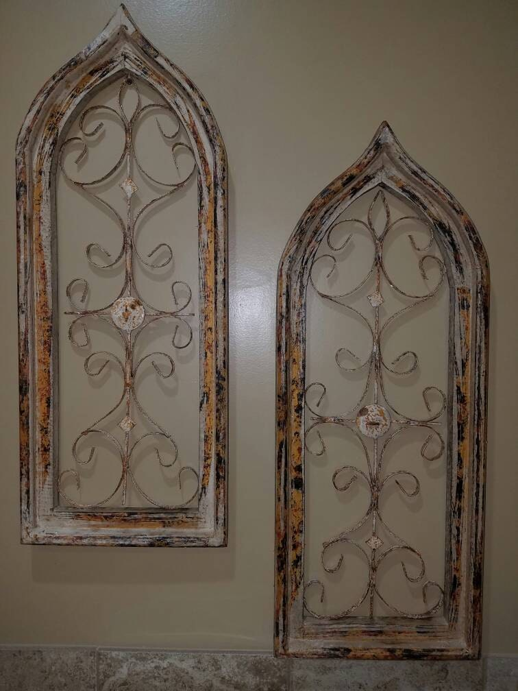 arched window wall decor farmhouse character metal. Black Bedroom Furniture Sets. Home Design Ideas