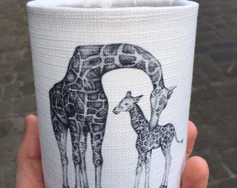 Hand Sketched Giraffe Animal Lantern - Tea Light Cover - Nightlight