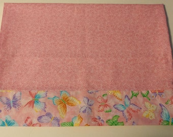 Pink w/ butterflies pillowcase