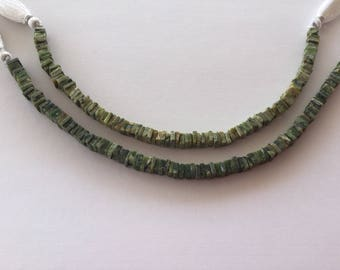 """Green Swess Opal Square Beads 4-6mm 8"""""""