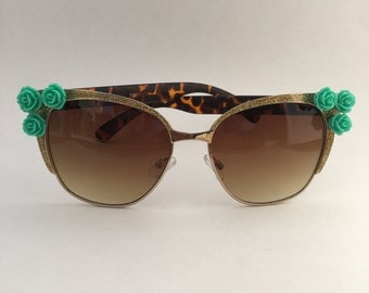 Glitter and Roses Embellished Sunglasses