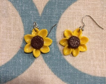 Clay sunflower earrings