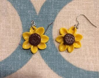 Clay sunflower earrings