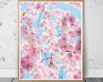 cherry blossom photography, cherry blossom tree print, botanical print, nature photography, minimal art, kitchen wall art, bathroom, bedroom