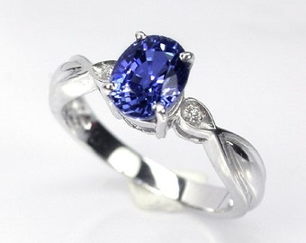 1.87 ct Wedding ring blue sapphire ring silver sterling.