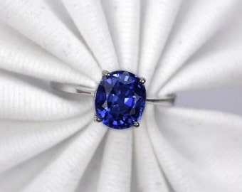 Wedding ring blue sapphire ring silver sterling.