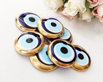 10 pcs evil eye charm, bulk gift evil eye gold unique wedding favors, evil eye jewelry charm, gold glass evil eye bead, evil eye wall hang