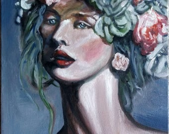 "Original oil painting, Beauty woman face, 12""x9"", 1703213"