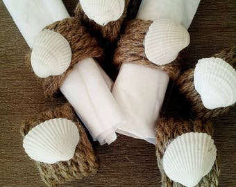 Set of 6 Wedding Napkin Rings - Rope Napkin Rings - Hemp and Seashell Napkin Rings  - Table decoration - Home Decor- Rustic Napkin Rings