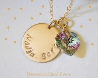 Gold Name Disc Necklace//Heart Birthstone Necklace//Wedding Aniversary Gift//