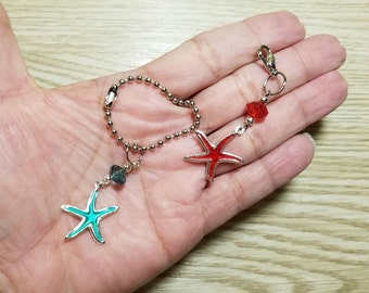 10 Pieces - Starfish Party Favors - Zipper Pulls
