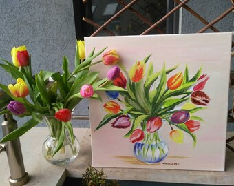 Colorful spring tulips, original acrylic painting, cheerful spring flower, spring joy,